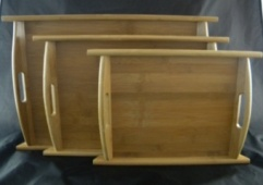 Solid Bamboo Tray Set