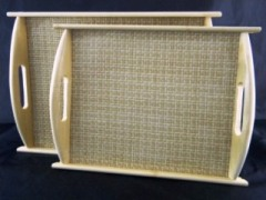 Bamboo Wicker Tray Set
