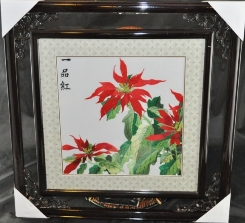 Framed Poinsettia Embroidery